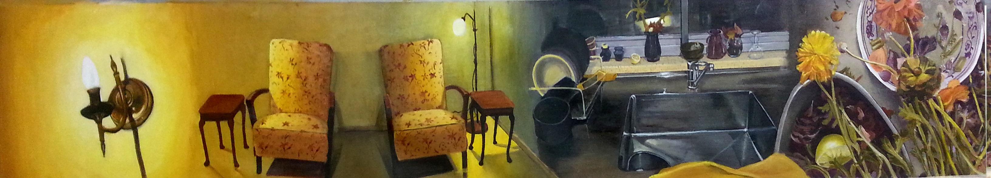 dvora morag,Color Separation-Yellow, 2014, acrylic on canvas,0.335x2